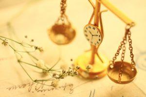 天秤と時計